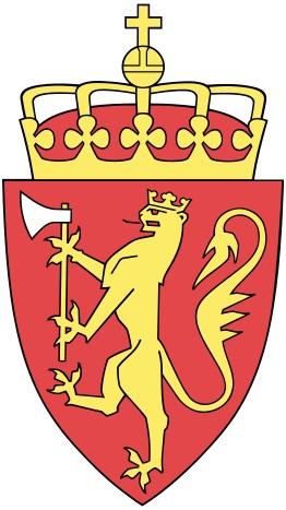Norský státní znak: šelma držící zbraň, to vše na červeném poli. Kredit: Damian Szczepaniak / Wikipedia Commons