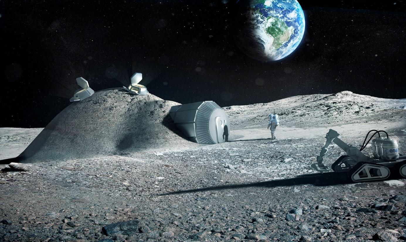 Měsíční základna vybudovaná pomocí 3D tiskáren v představách ESA (zdroj ESA/Foster + Partners).