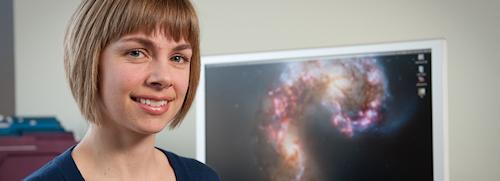 Odbornice na galaktické kupy Tracy Webb.  Kredit: McGill University, oddělení astrofyziky a astronomie.