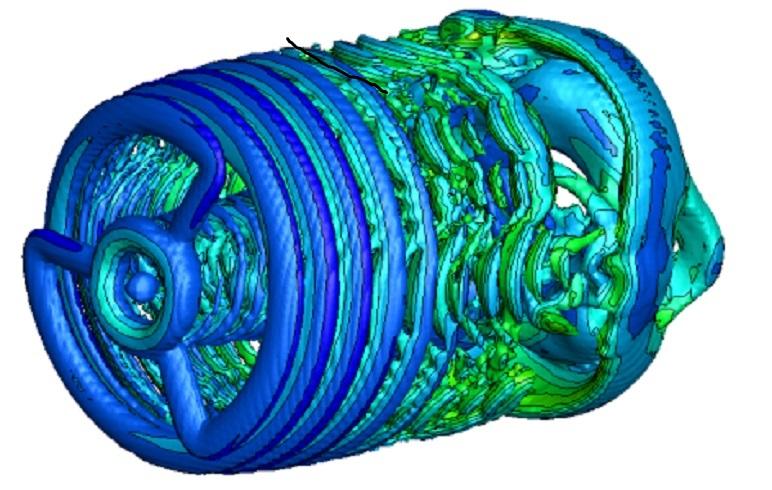 Simulace víření vzduchu při jeho průchodu dvojitým rotorem větrné turbíny.První tři brázdy jsou dílem listů hlavního rotoru. Sekundární rotor se podepisuje změnou proudění až za nimi. Odborníkům prý již z tohoto obrázku je
