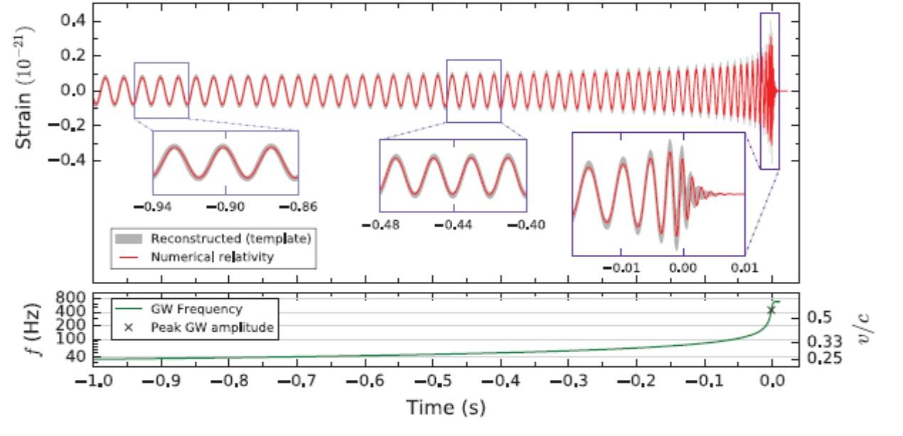 Porovnání rekonstruované relativní amplitudy s modelovým výpočtem pro příslušné uvedené parametry soustavy. (Zdroj Physicall Review Letters 116, 241103 (2016)).