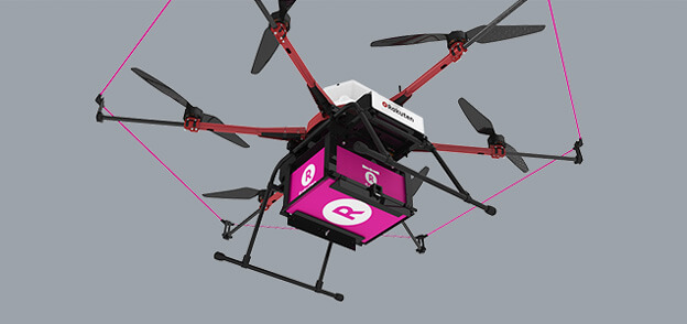 Doručovací dron firmy Rakuten (zdroj Drone.Rakuten.co.jp).