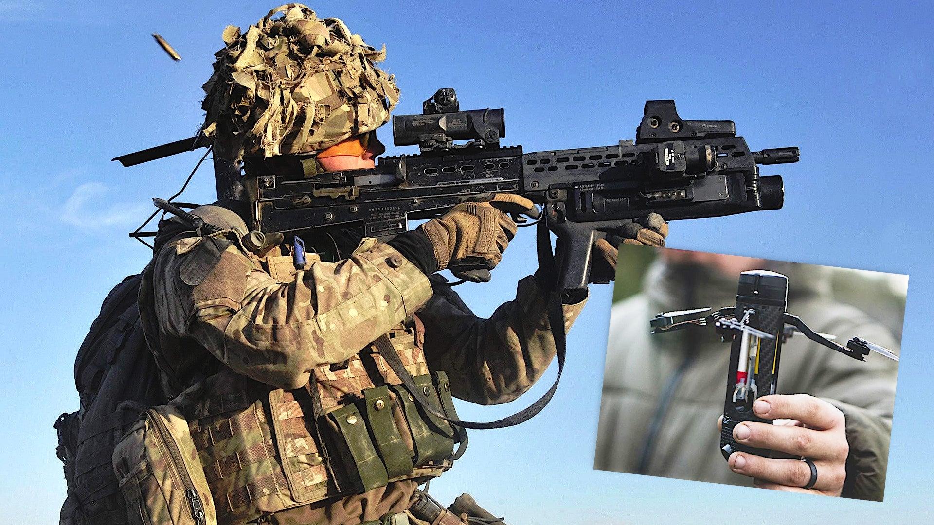 Britský voják sgranátometem a sDrone40. Kredit: Crown.