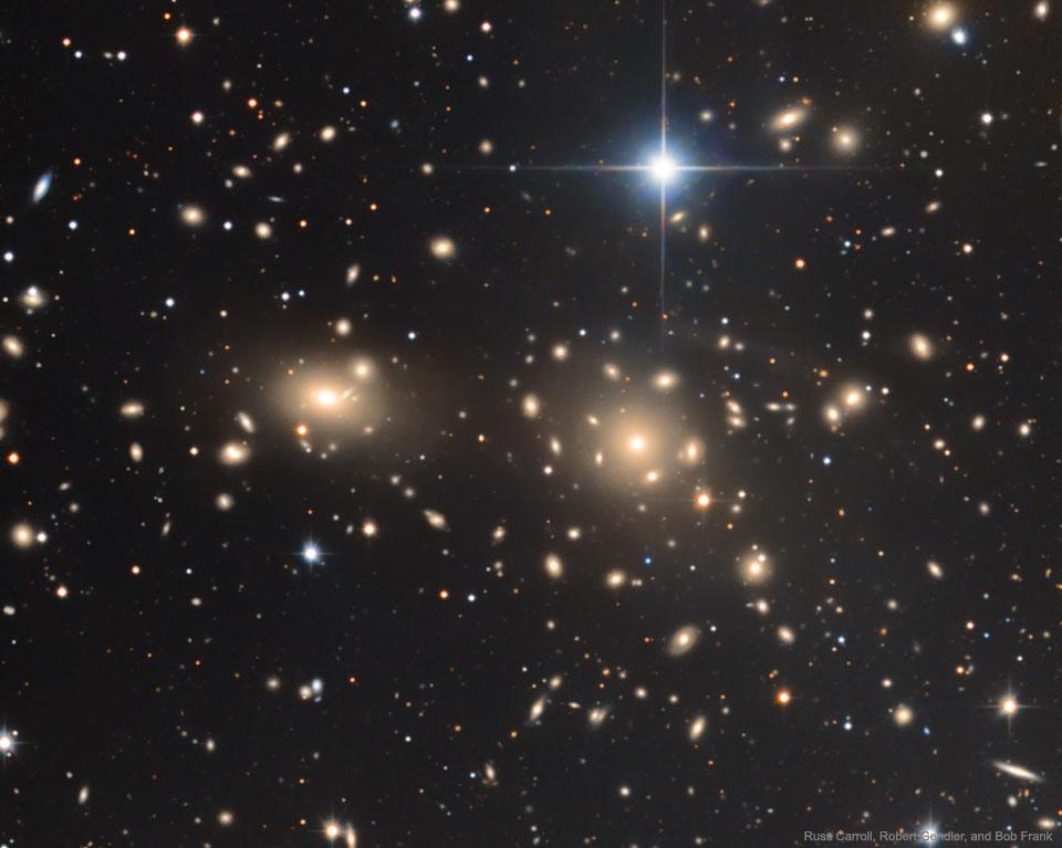 Kupa galaxií ve Vlasech Bereniky (zdroj Russ Carroll, Robert Gendler, Bob Franke: Dan Zowada Memorial Observatory).