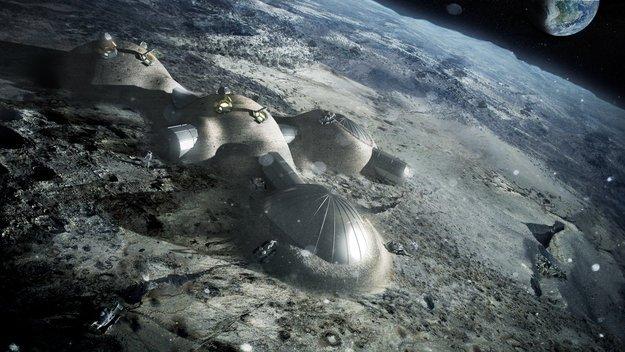 Stavba lunární vesničky. Zdroj:esa.int