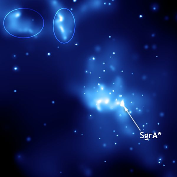 Sgr A* vsrdci Mléčné dráhy. Kredit: NASA / Wikipedia Commons.