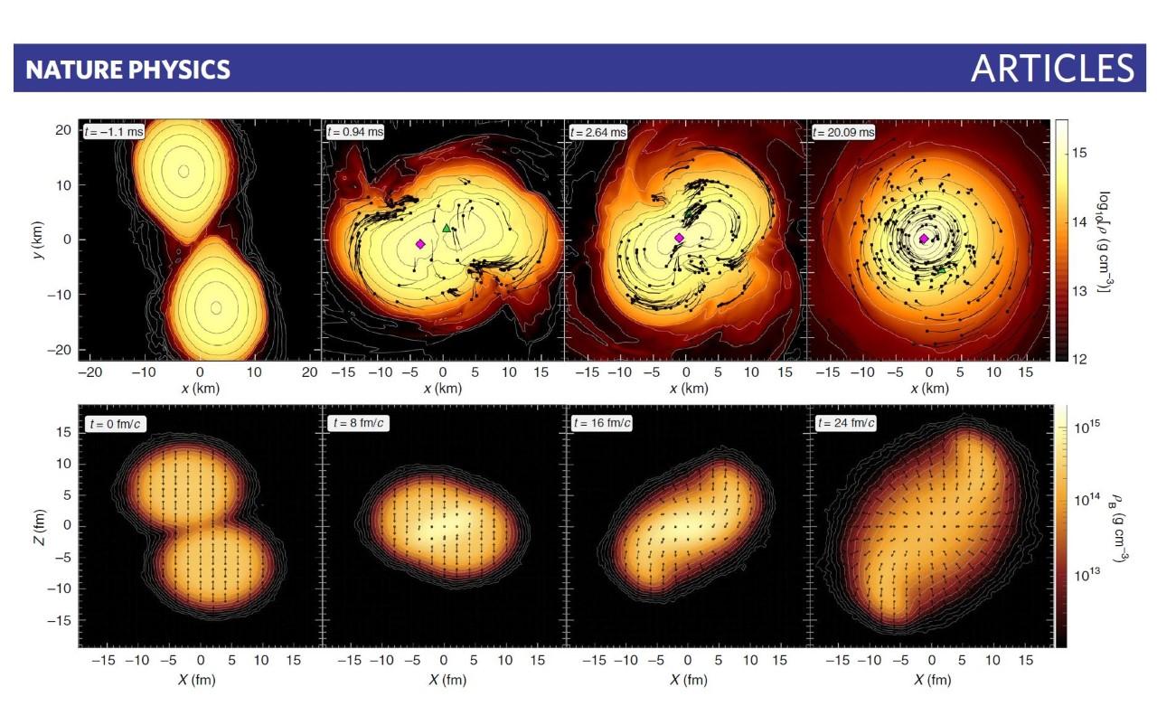 Simulace srážky a slynutí dvou neutronových hvězd (nahoře) a dvou jader při srážce na urychlovači (dole). Barevná škála zobrazuje dosaženou hustotu a nalevo a dole je poloha. U neutronových hvězd v kilometrech a jader ve femtometrech. Je vyznačen i č
