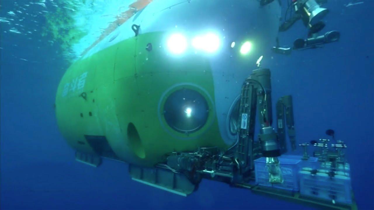 Čínská hlubokomořská ponorka Fendouzhe. Kredit: CGTN / Youtube.