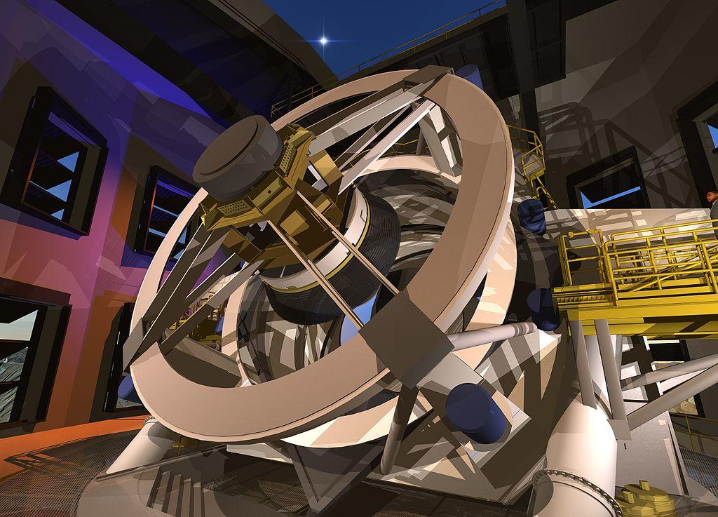 Takhle bude vypadat hotový teleskop Rubin Observatory. Kredit: Todd Mason, Mason Productions Inc. / LSST Corporation.