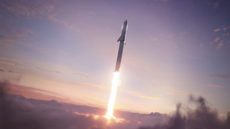 Monumentální start lodi Starship snosnou raketou Super Heavy. Kredit: SpaceX.