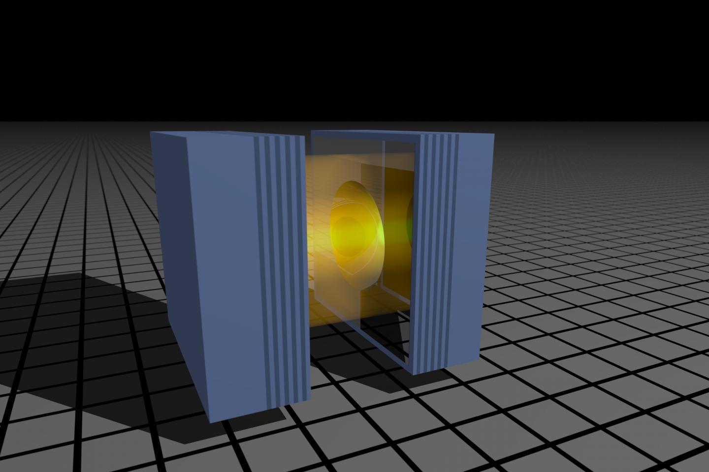 Zařízení na výzkumu sedmera fotonů. Kredit. Imperial College London.