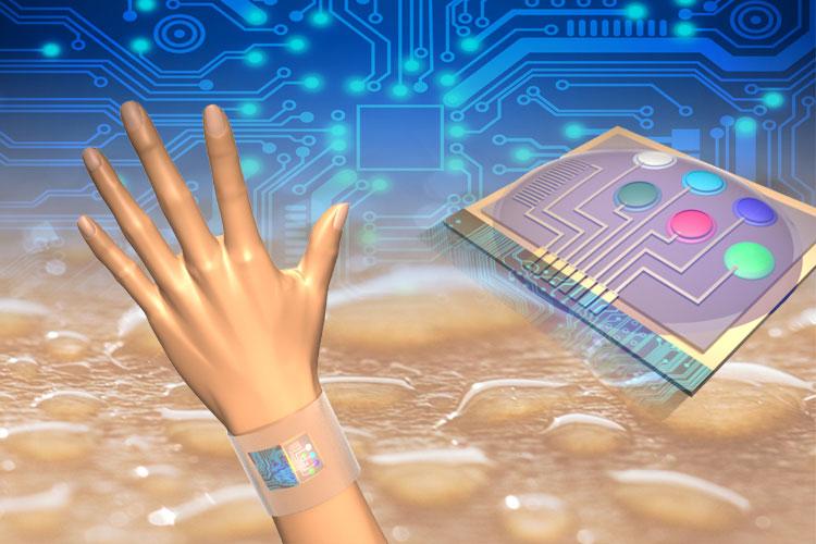 Senzor analýzy potu na chytrém náramku. Kredit: UC Berkeley.