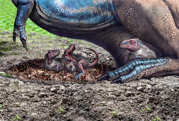 OpeĹ™ená mláďata tyranosaura jsou sice pouhou hypotĂ©zou, pernatĂ˝ pokryv tÄ›la je u nich ale velmi pravdÄ›podobnĂ˝. Je jistĂ©, Ĺľe alespoĹ? pĹ™edek všech tyranosauroidĹŻ tĂmto fyzickĂ˝m znakem disponoval. Kredit: Luis V. Rey, Luis V. Rey´s Upd