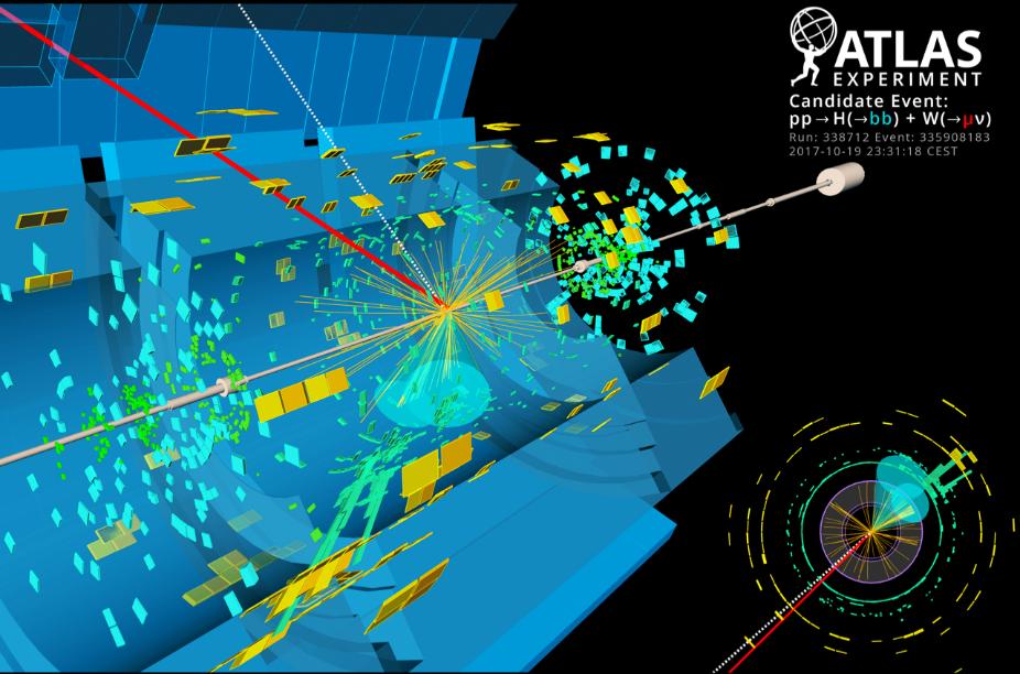Zobrazení srážky protonů v ecxperimentu ATLAS (zdroj CERN).