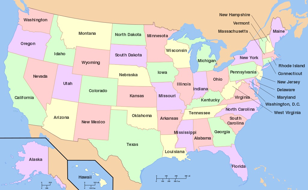 Státy USA. Kredit: Wapcaplet / Wikimedia Commons.