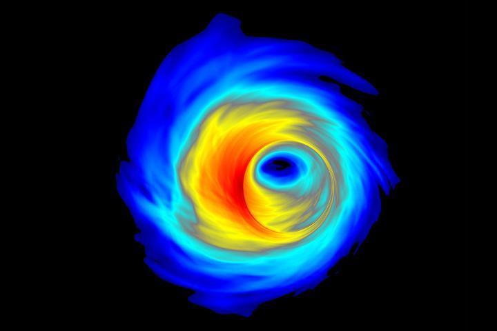 Simulace akrečního disku supermasivní černé díry. Kredit: Scott C. Noble.