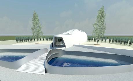 Architektonická vize kompaktního reaktoru IV. generace firmy StarCore Nuclear (zdroj StarCore).