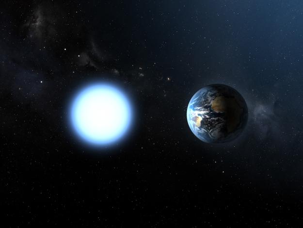 Bílý trpaslík a Země. Kredit: ESA / NASA.