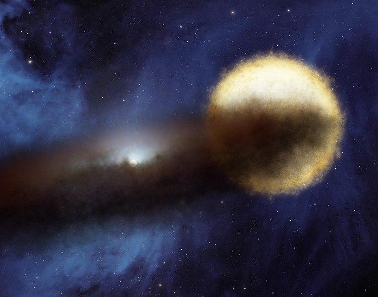 Epsilon Aurigae se záhadným diskem hmoty. Kredit: NASA/JPL-Caltech.