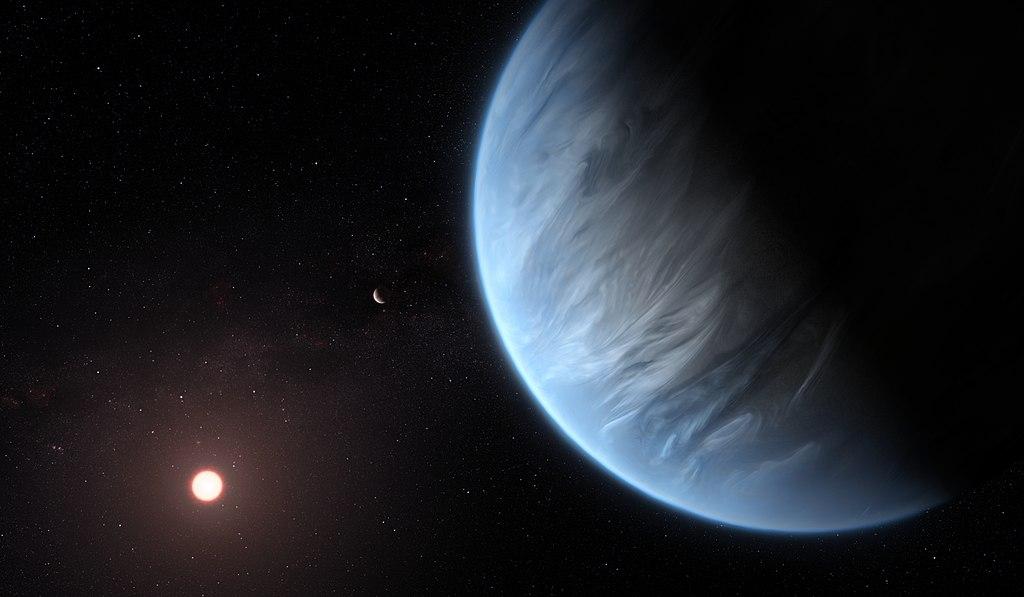 Pravděpodovný hyceánský svět K2-18b.Kredit: or ESA/Hubble, M. Kornmesser.