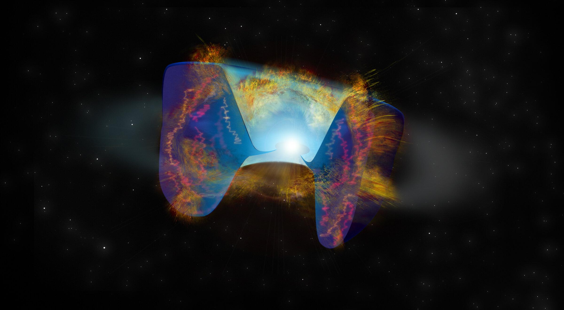 """Materiál supernovy naráží na """"kouřovou stopu"""" nahlodané hvězdy a vytvářejí rádiové záření. Kredit: Bill Saxton, NRAO/AUI/NSF."""