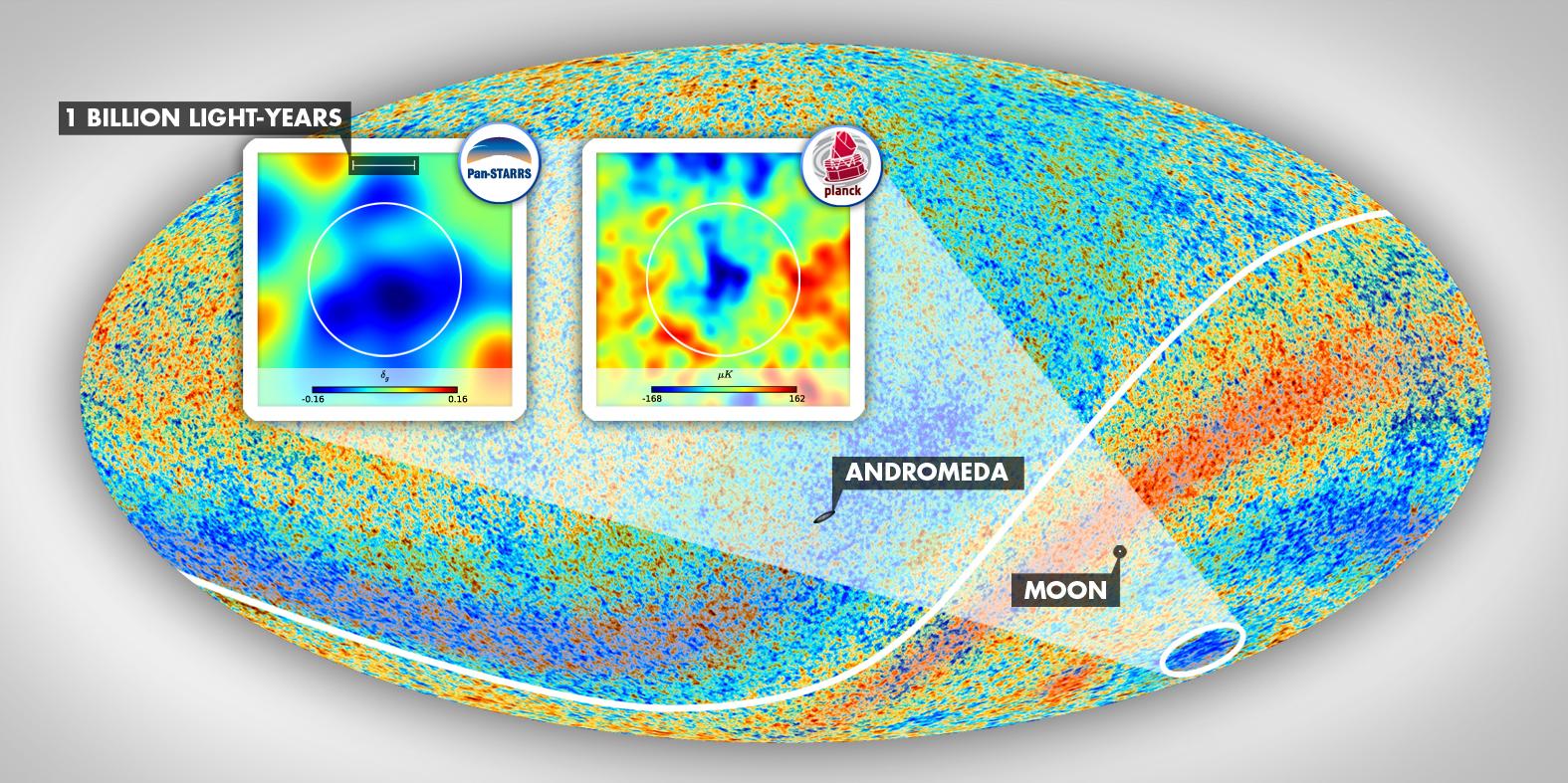Chladná skvrna ve vesmíru. Kredit: ESA Planck Collaboration.
