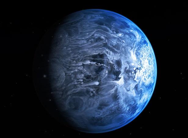 ModrĂ˝ horkĂ˝ jupiter HD 189733b. Kredit: NASA, ESA, M. Kornmesser.