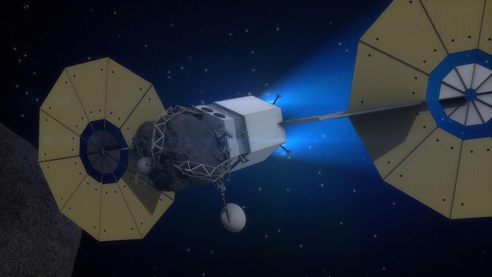 Sonda ARRM určená k dopravě asteroidu na oběžnou dráhu Měsíce. Zdroj: http://www.jpl.nasa.gov/