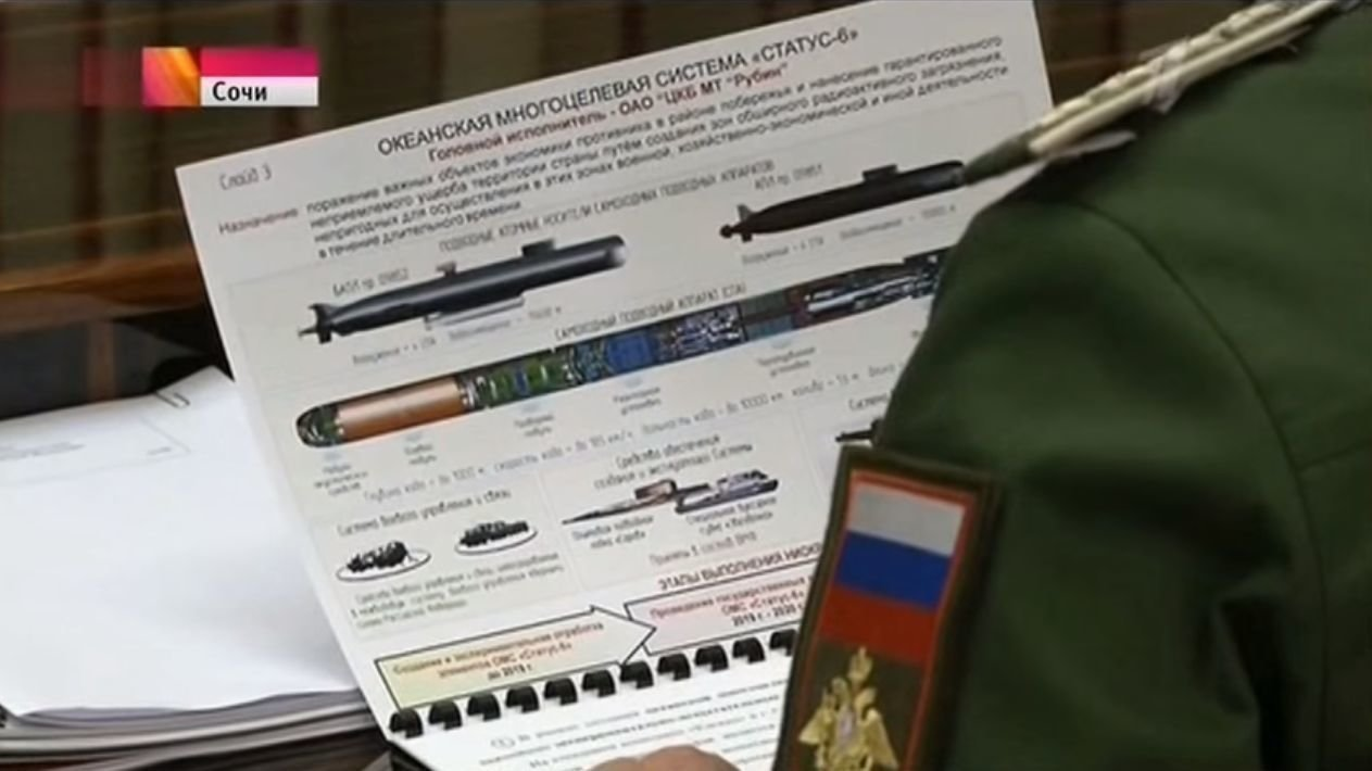 Torpédo posledního soudu Status-6 podle ruské státní televize. Kredit: Youtube.