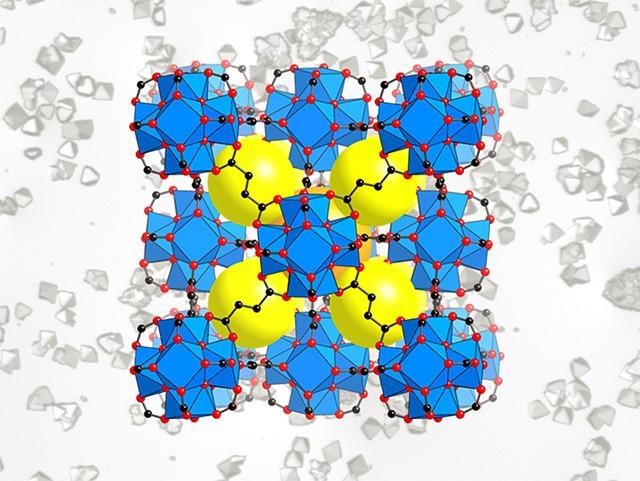 Schéma MOFu. Žlutě prázdné prostory, které se mohou naplnit molekulami vody. Kredit: UC Berkeley and Berkeley Lab.