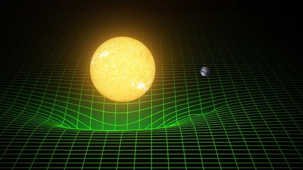 ZakĹ™ivenĂ ÄŤasoprostoru. Kredit: LIGO / Caltech.
