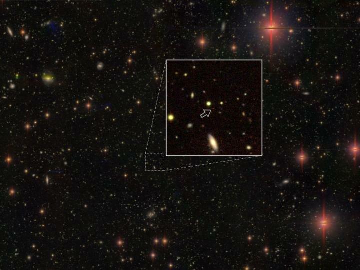Jeden znově objevených kvasarů, který je zároveň ve vzdálenosti 13,05 miliardy světelných jedním znejvzdálenějších, jaké známe. Kredit: National Astronomical Observatory of Japan.