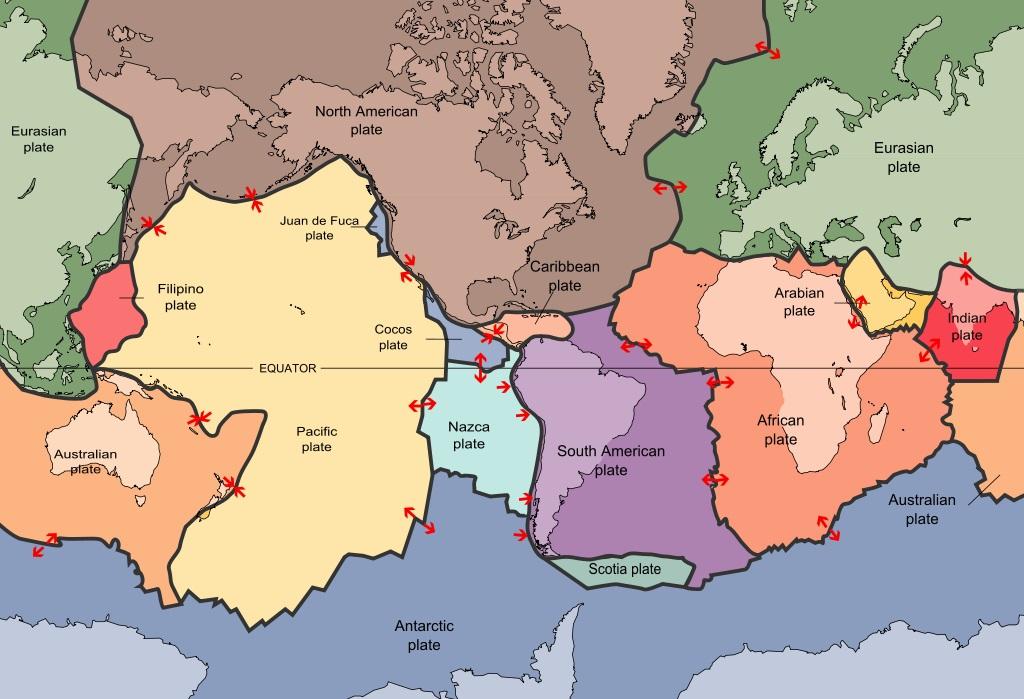 Tektonické desky. Kredit: USGS.