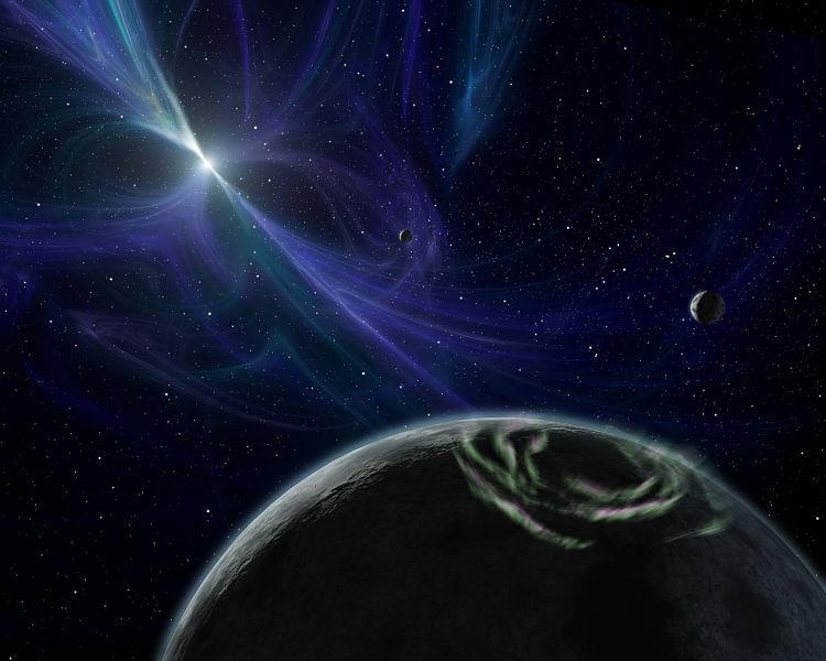 Bizarní systém pulsaru PSR 1257+12. Kredit: NASA/JPL-Caltech/R. Hurt (SSC).
