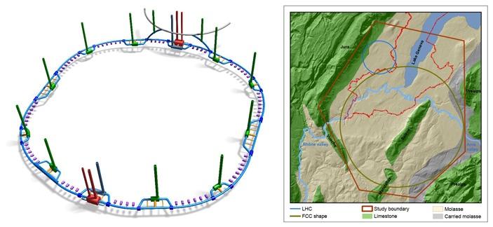 Schéma urychlovače FCC, který by mohl být pokračovatelem urychlovače LHC (zdroj CERN).