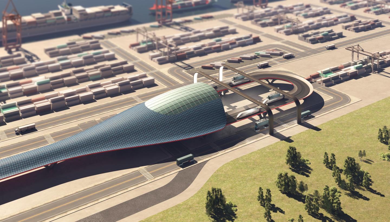 Terminál systému HyperPort. Kredit: Hyperloop Transport Technologies.