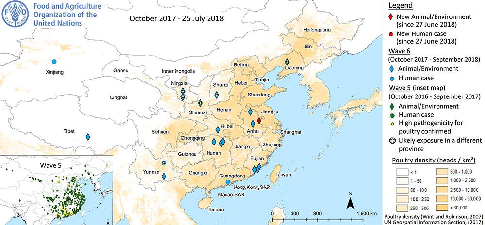 Virus H7N9, situace mezi říjnem 2017 a červencem 2018. Kredit: FAO.