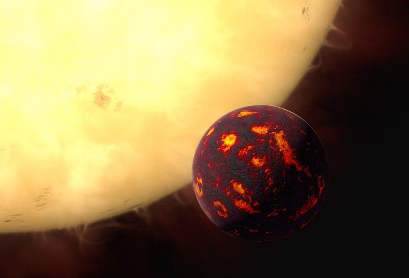 Pekelný svět 55 Cancri e. Kredit: ESA/Hubble, M. Kornmesser.