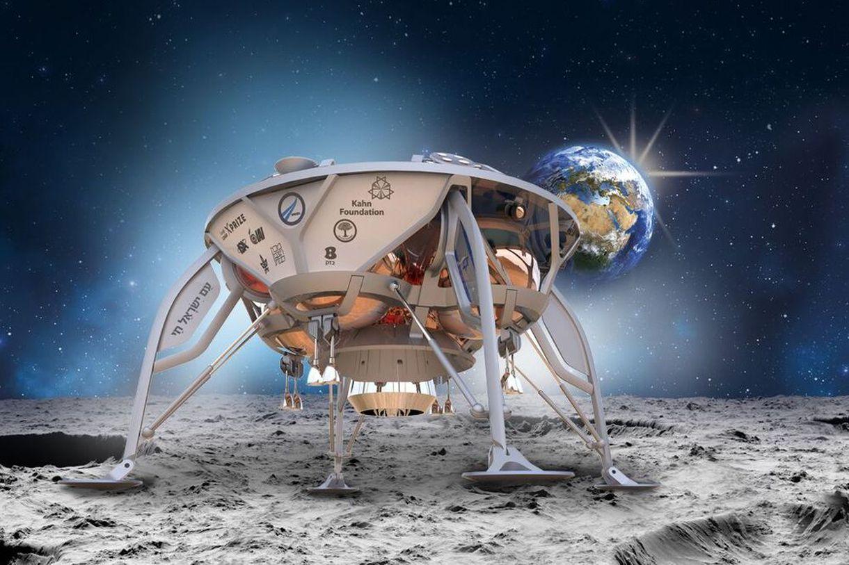 Přistávací modul Sparrow izraelské společnosti SpaceIL. Kredit:SpaceIL