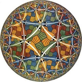 Hyperbolická geometrie podle Eschera: Circle Limit III. Kredit: M. C. Escher, 1959.