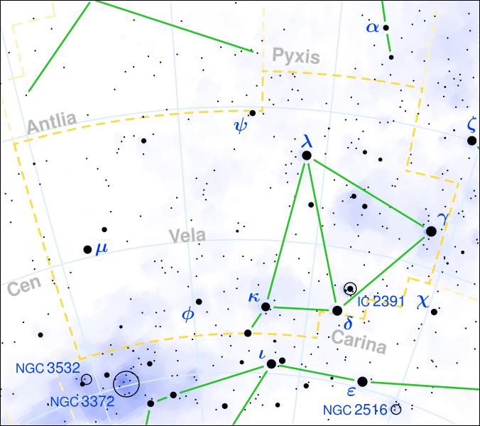 Gamma Velorum je vpravé části souhvězdí Plachet. Kredit: Torsten Bronger / Wikimedia Commons.