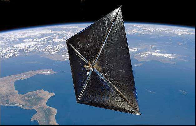 Sluneční plachetnice Nanosail-D v představách malíře (zdroj NASA).