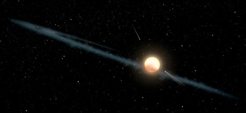 Jedna zteorií o Tabbyině hvězdě zahrnuje asymetrický prstenec hmoty. Kredit: NASA/JPL-Caltech.