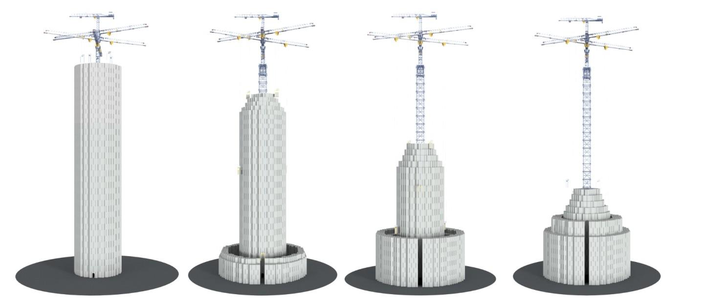 Energetická věž zcela vlevo je plně nabitá, zcela vpravo plně vybitá. Kredit: Energy Vault.