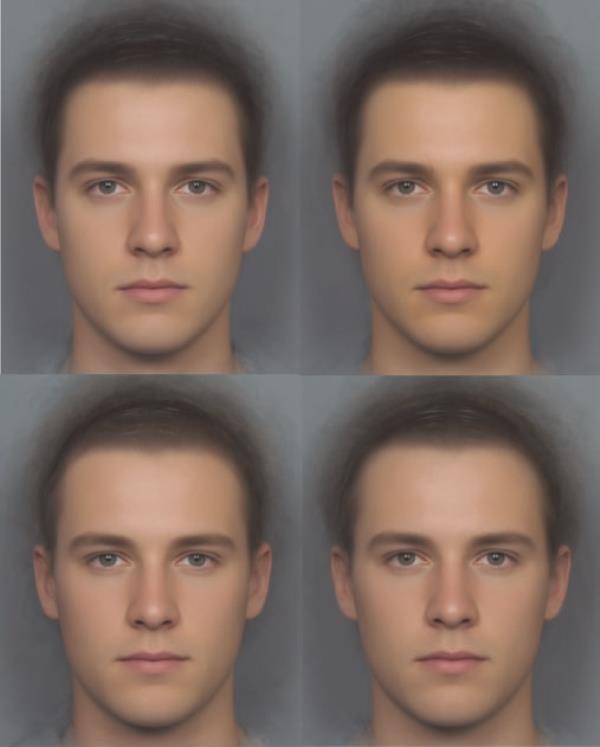 Příklad jemných barevných variací před a po suplementaci. Horní snímky jsou z pokusu s konzumací beta-karotenu, spodní s placebem.Vlevo je stav před medikací, vpravo stav po požití příparavku. Kredit: Yong Zhi Foo