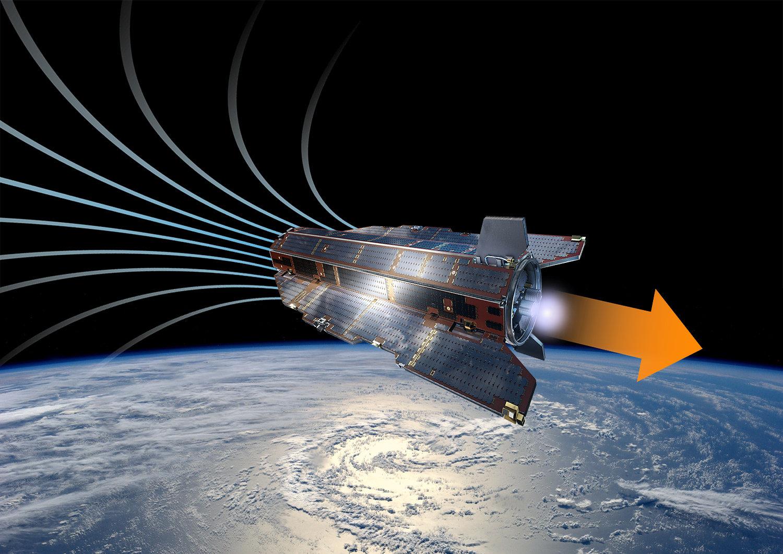 Budoucí satelit na nízké oběžné dráze snovým pohonem. Kredit: ESA/A. DiGiacomo.