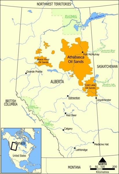 Athabaské ropné písky. Kredit: NormanEinstein / Wikimedia Commons.