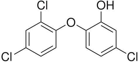Triclosan, takĂ© triklosan, neboli 5-chlor-2-(2,4-dichlorfenoxy)fenol. Pokusy na zvĂĹ™atech prokázaly jeho neblahĂ© pĹŻsobenĂ na zmÄ›ny v hladinách testosteronu, estrogenu a hormonĹŻ štĂtnĂ© Ĺľlázy. NenĂ dĹŻvod, proÄŤ by u ÄŤlovÄ›ka nemÄ›l mĂ