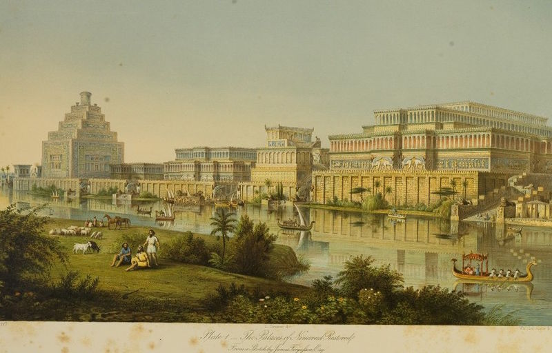 Paláce Nimrúdu, podle představy zroku 1853. Kredit: James Fergusson, Wikimedia Commons.