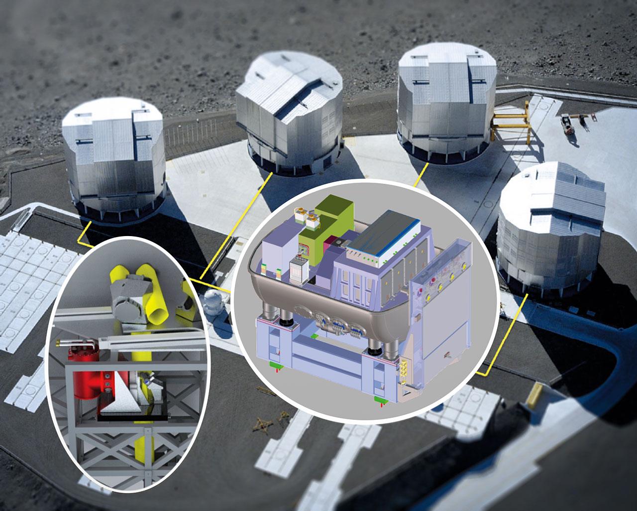 Zařízení Gravity na teleskopech VLT. Kredit: ESO.